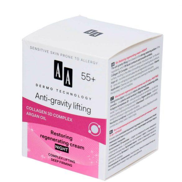 AA DT Anti-gravity lifting 55+ helyreállító regeneráló éjszakai krém 50 ml